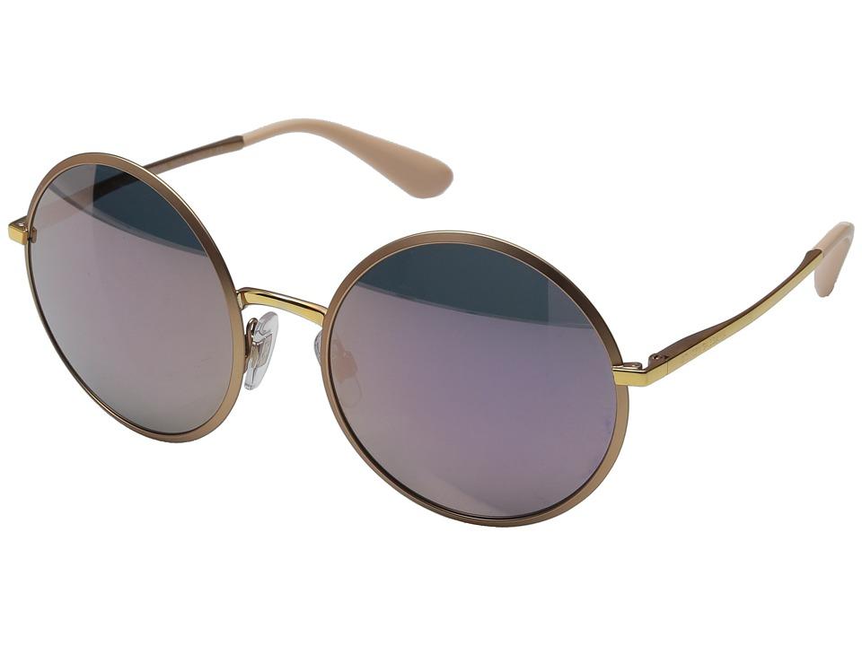 Dolce & Gabbana - DG2155 (Matte Pink Gold/Dark Grey Mirror Pink) Fashion Sunglasses