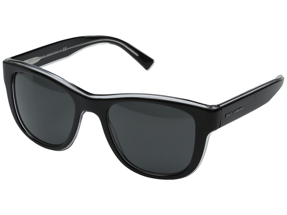 Dolce & Gabbana - DG4284 (Top Black on Crystal/Grey) Fashion Sunglasses