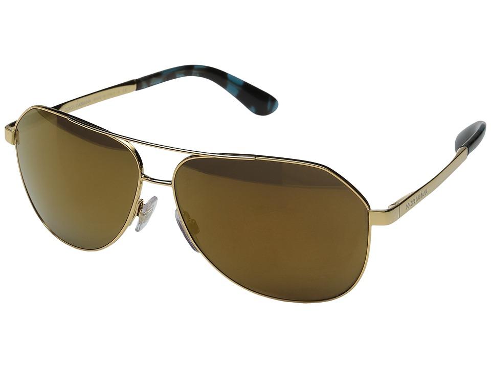 Dolce & Gabbana - DG2144 (Gold/Gold Mirror) Fashion Sunglasses