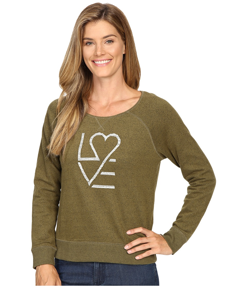 Life is Good - Love Heart Marled Terry Crew (Woodland Green) Women's Long Sleeve Pullover