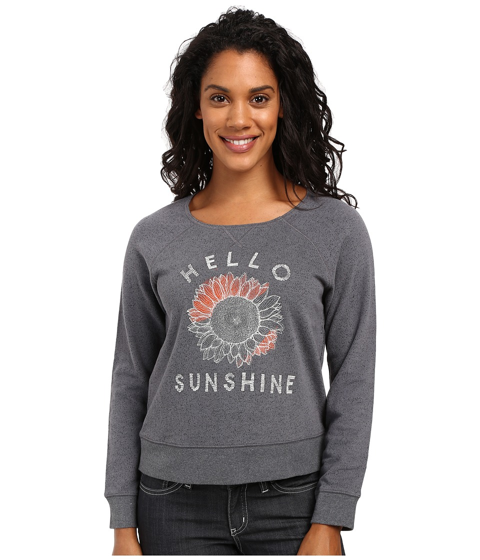 Life is good - Hello Sunshine Sunflower Marled Terry Crew (Slate Grey) Women's Long Sleeve Pullover