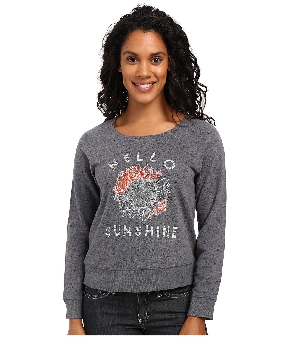 Life is Good - Hello Sunshine Sunflower Marled Terry Crew (Slate Grey) Women's Long Sleeve Pullover