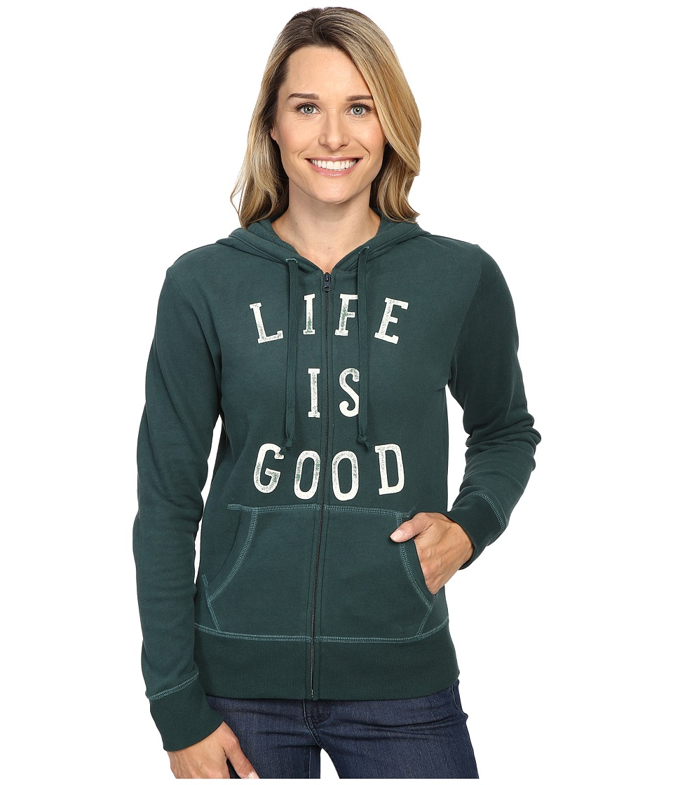 Life is good LIG Go To Zip Hoodie (Balsam Green) Women
