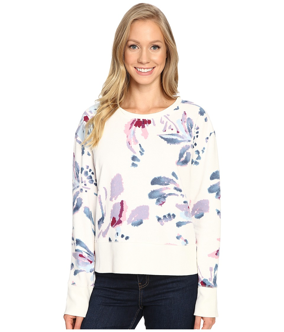 Life is good - Abstract Floral Go-To Crew (Simply Ivory) Women's Long Sleeve Pullover