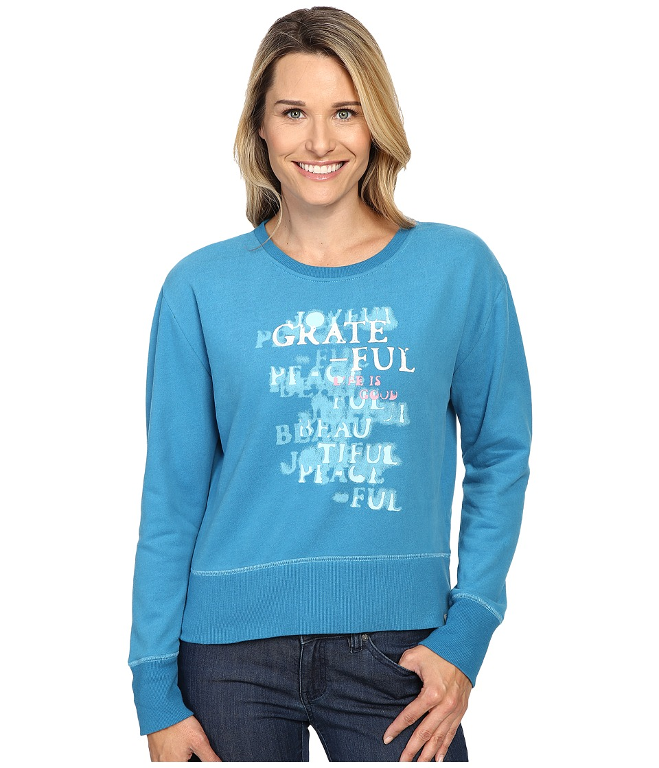 Life is good - Grateful Stencil Go-To Crew (Denim Blue) Women's Long Sleeve Pullover