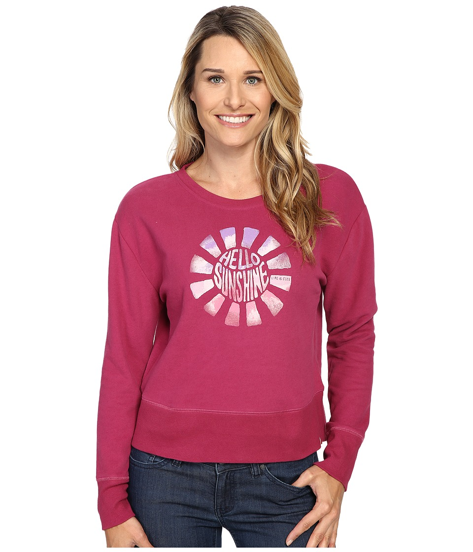 Life is good - Hello Sunshine Go-To Crew (Wild Plum) Women's Long Sleeve Pullover