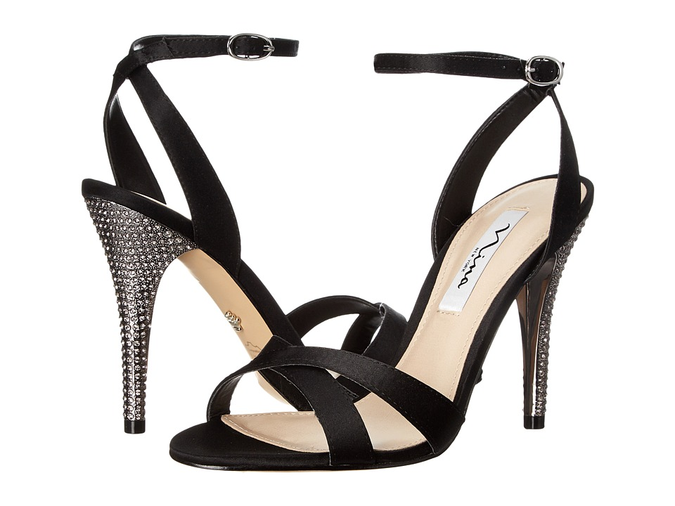 Nina - Meryly (Black Satin) Women's 1-2 inch heel Shoes
