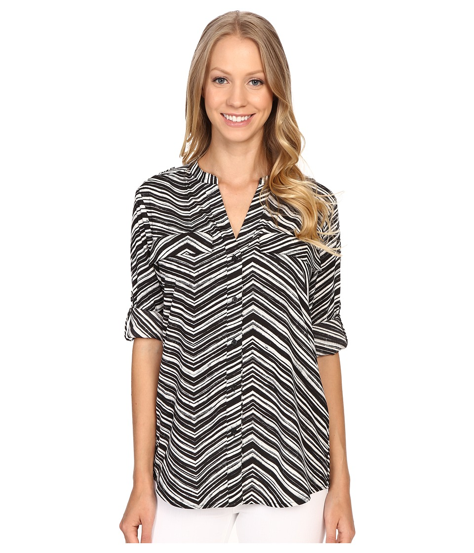 Calvin Klein - Printed Roll Sleeve Blouse (Black Stripe) Women's Blouse