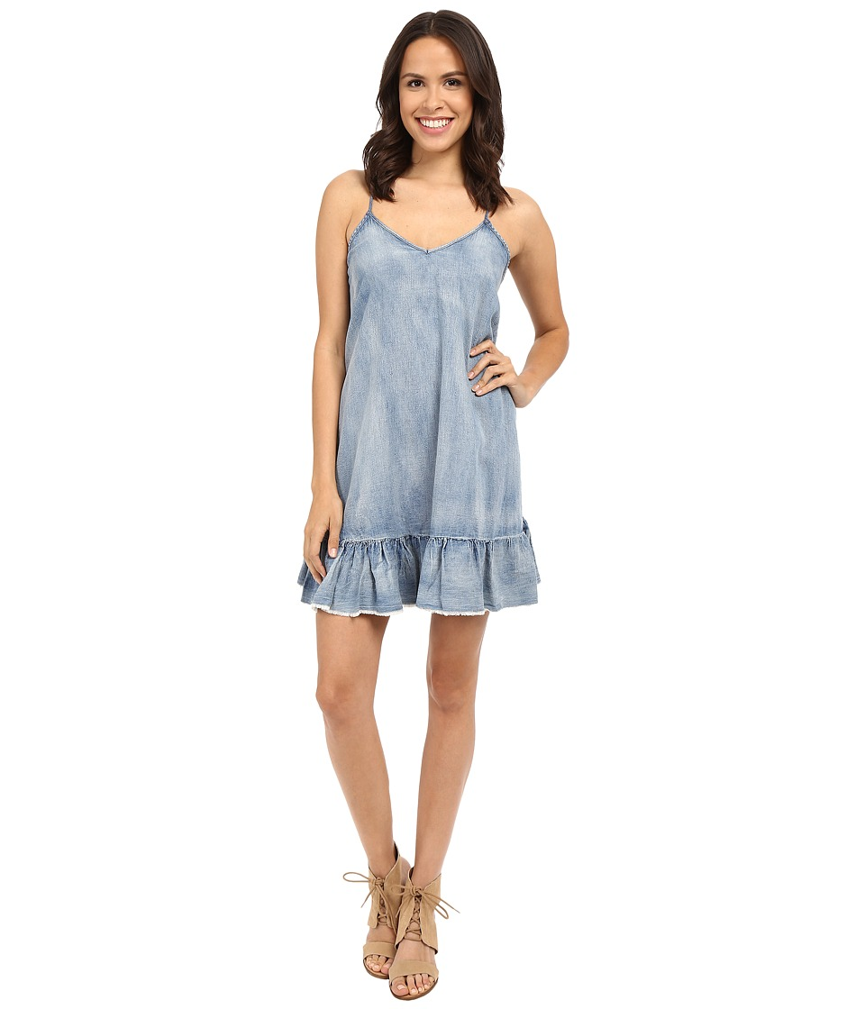 Blank NYC - Ruffle Denim Dress in Next In Line (Blue) Women's Dress