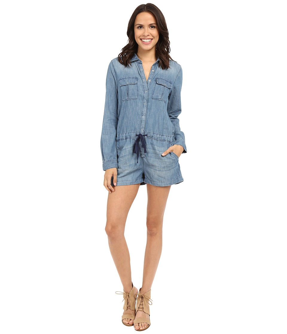 Blank NYC - Denim Long Sleeve Romper in Bang Bang (Blue) Women's Jumpsuit & Rompers One Piece