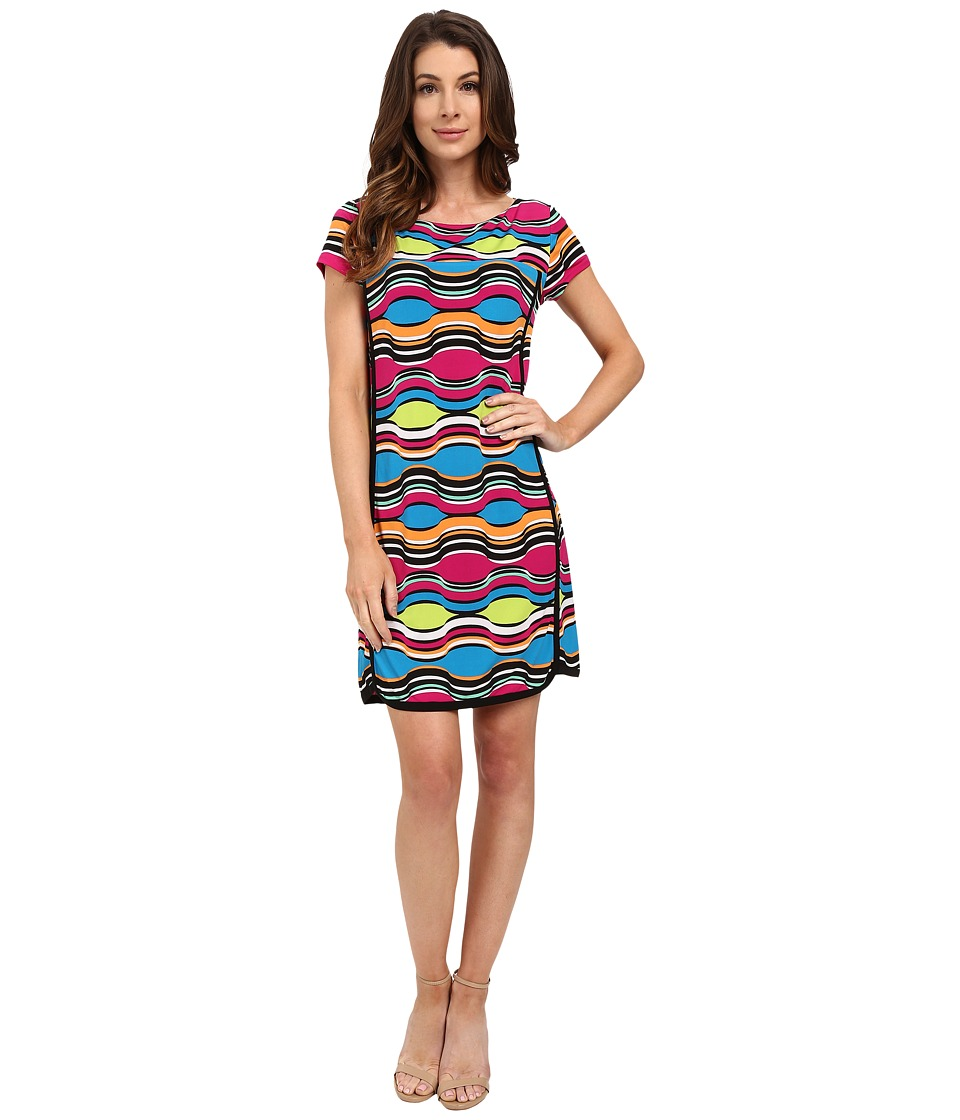 Laundry by Shelli Segal - Print Matte Jersey Short Sleeve T-Dress (Blue) Women's Dress
