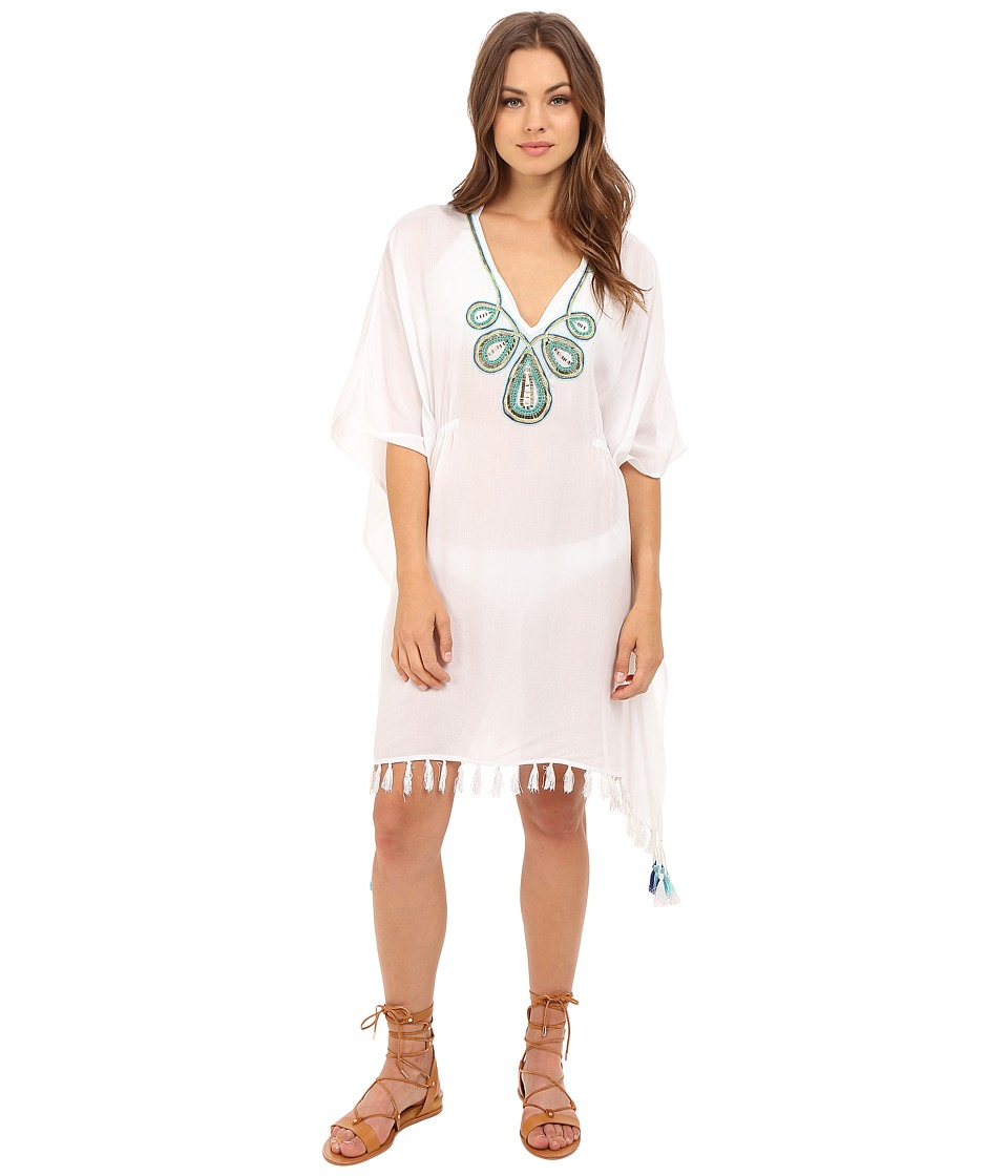 JETS by Jessika Allen - Adorn Embroidered Kaftan Cover-Up (White) Women's Swimwear