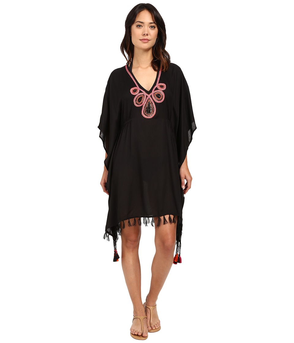 JETS by Jessika Allen - Adorn Embroidered Kaftan Cover-Up (Black) Women's Swimwear