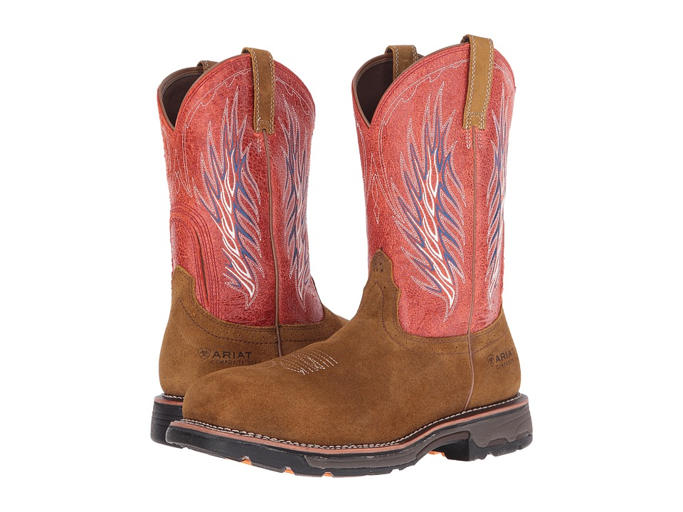 Ariat - Workhog Mesteno II CT (Rough Brown/Fire) Cowboy Boots