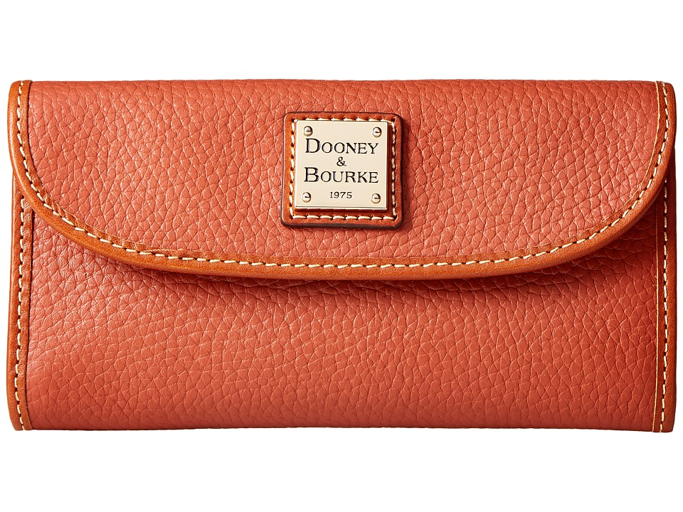 Dooney & Bourke - Pebble Leather New SLGS Continental Clutch (Burnt Orange) Clutch Handbags