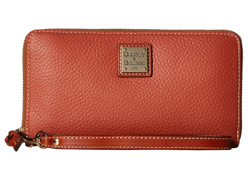 Dooney & Bourke - Pebble Leather Large Zip Around Wristlet (Burnt Orange) Wristlet Handbags