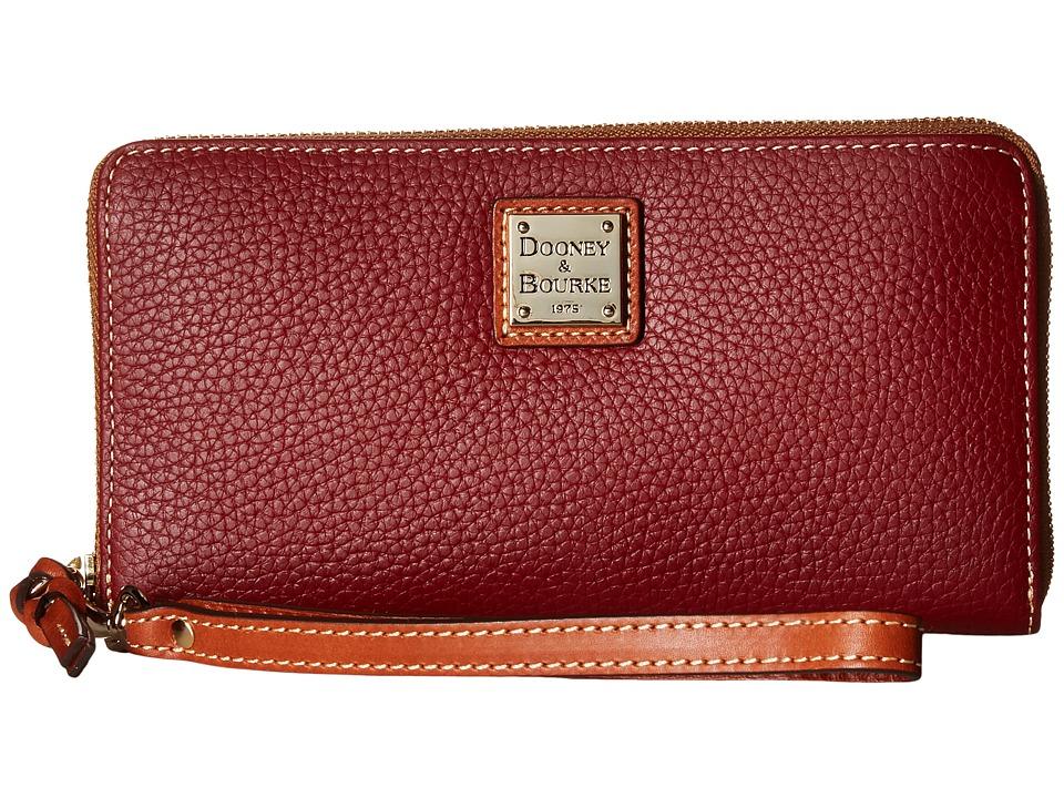 Dooney & Bourke - Pebble Leather Large Zip Around Wristlet (Wine) Wristlet Handbags