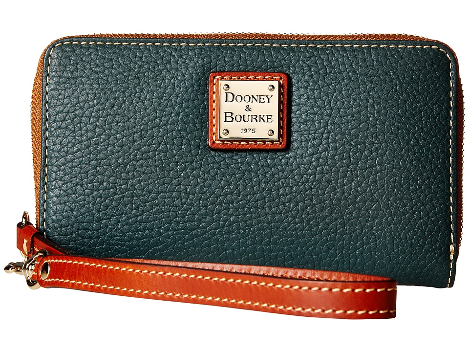 Dooney & Bourke - Pebble Leather New SLGS Zip Around Credit Card Phone Wristlet (Hunter) Wristlet Handbags