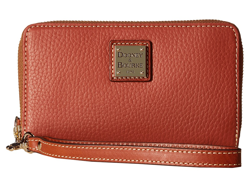 Dooney & Bourke - Pebble Leather New SLGS Zip Around Credit Card Phone Wristlet (Burnt Orange) Wristlet Handbags