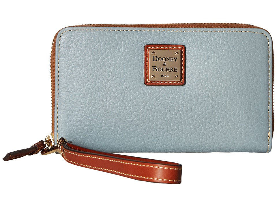 Dooney & Bourke - Pebble Leather New SLGS Zip Around Credit Card Phone Wristlet (Heather) Wristlet Handbags