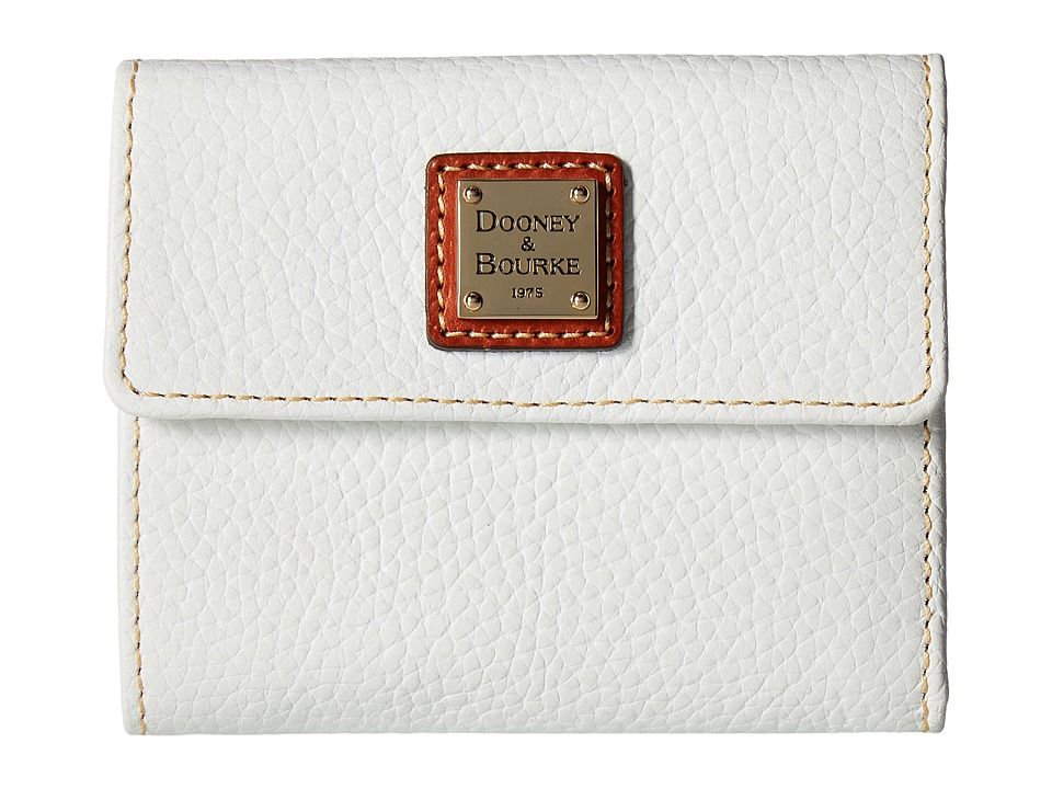 Dooney & Bourke - Pebble Leather New SLGS Small Flap Credit Card Wallet (White) Wallet Handbags