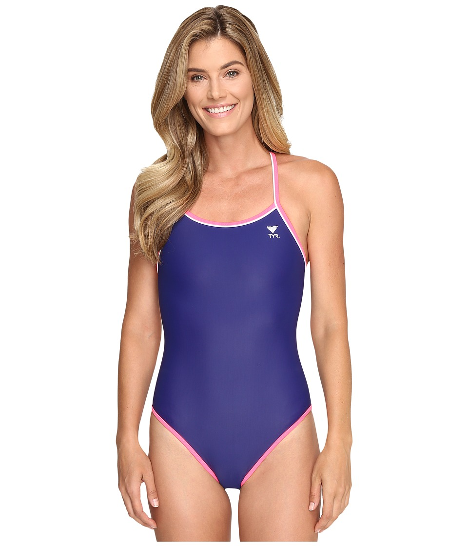 TYR - Solid Brites Reversible Diamondfit (Navy/Purple/Pink) Women's Swimsuits One Piece