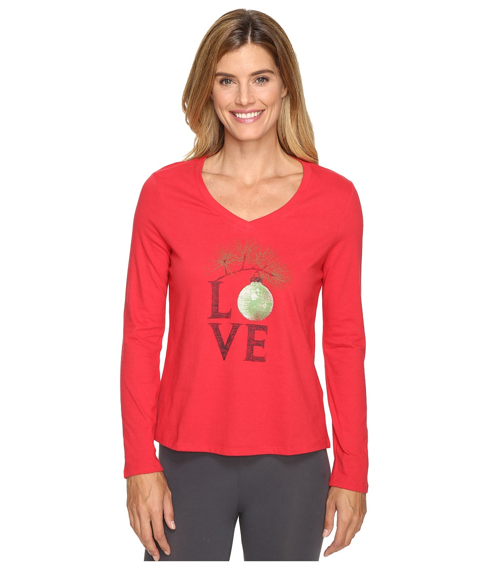 Life is good - Love Ornament Sleep Vee (Simply Red) Women's Pajama