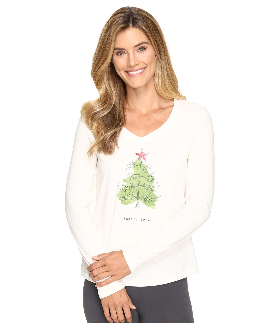 Life is good - Family Tree Sleep Vee (Simply Ivory) Women's Pajama