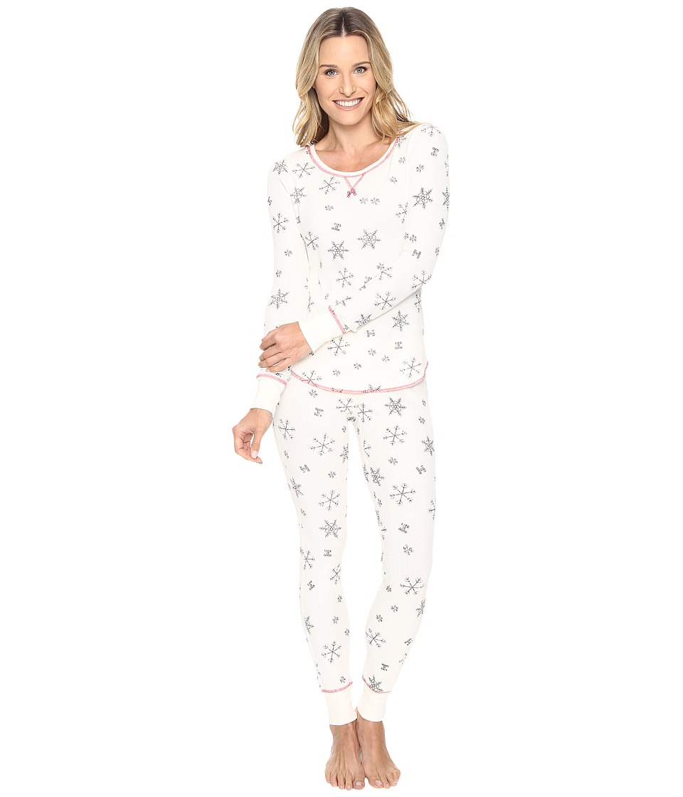 Life is Good - Snowflake Pattern Thermal Sleep Set (Simply Ivory) Women's Pajama Sets