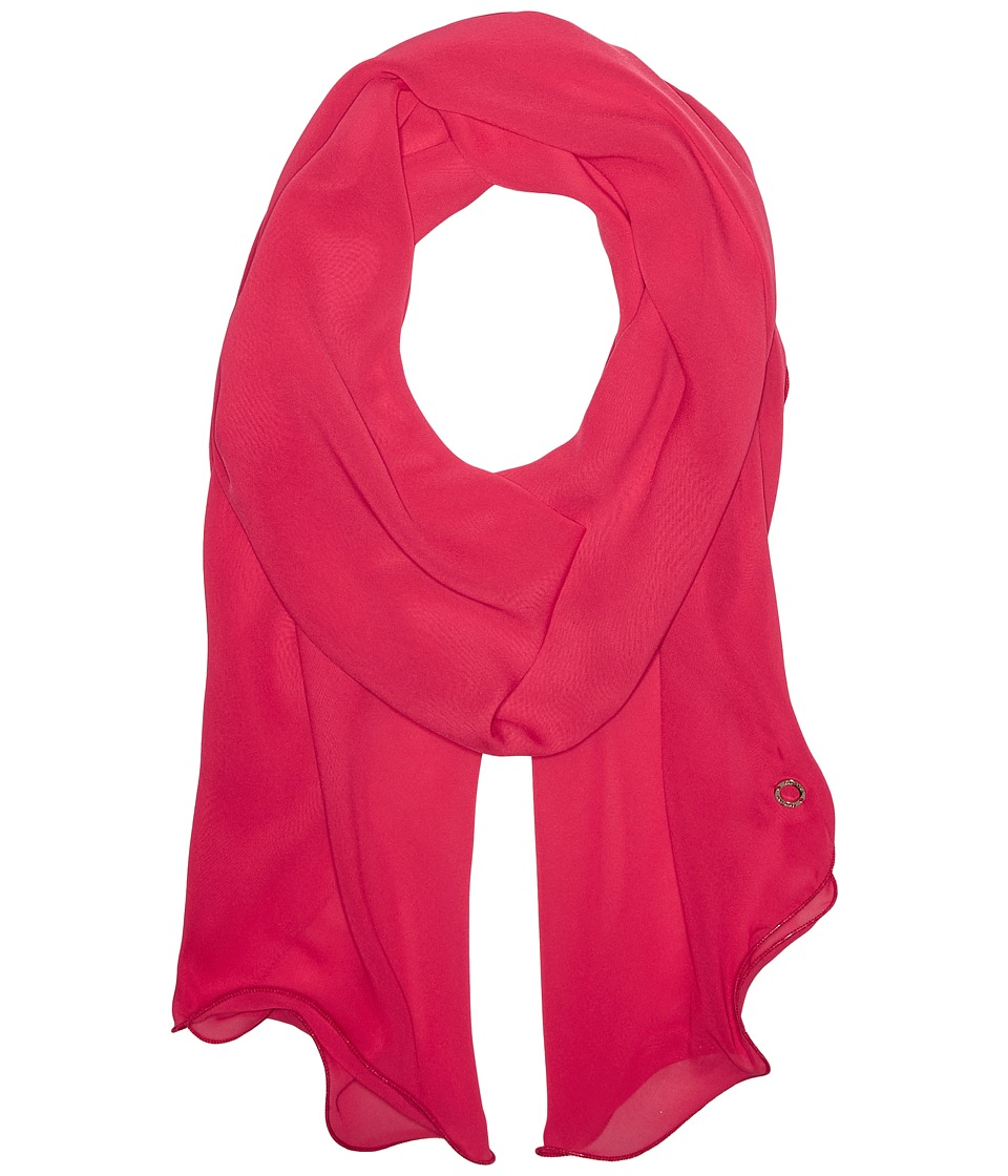 Calvin Klein - Solid Chiffon Ruffle Scarf (Hibiscus) Scarves