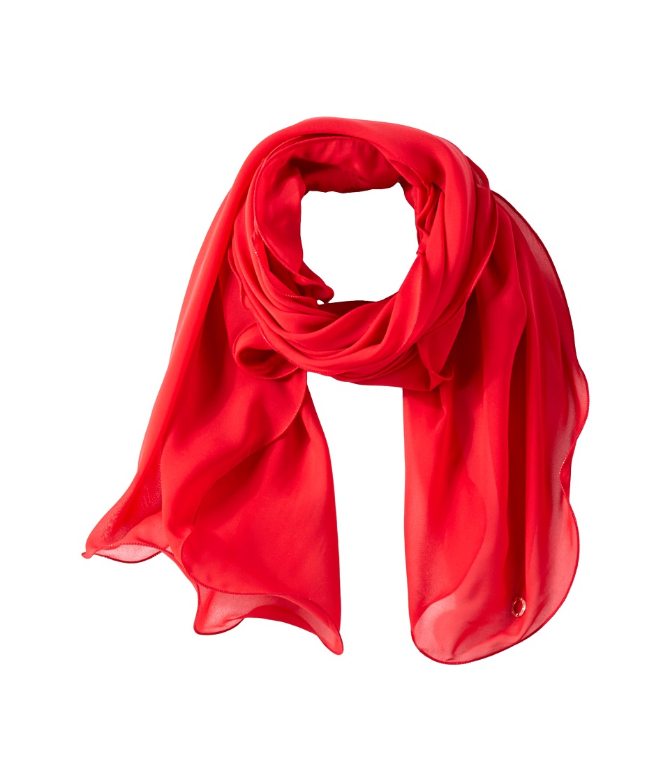 Calvin Klein - Solid Chiffon Ruffle Scarf (Rouge) Scarves