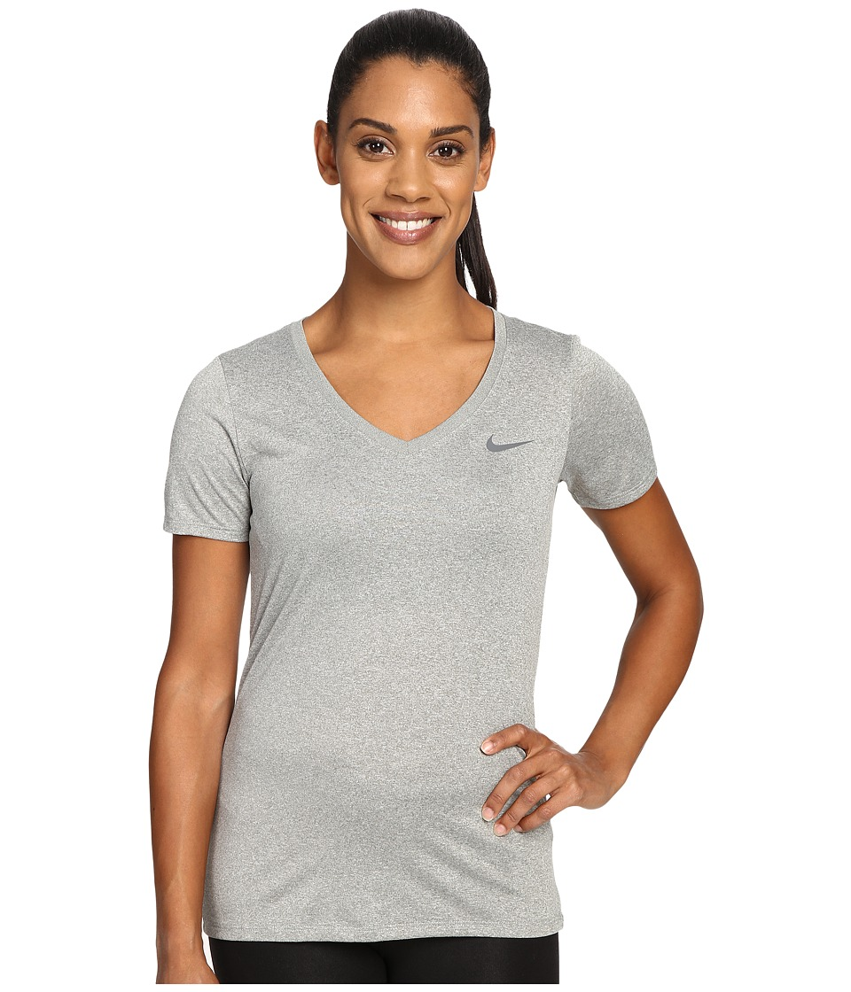 Nike - Dry Legend V-Neck Shirt (Dark Grey Heather/Cool Grey) Women's T Shirt