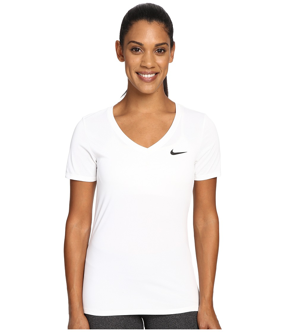 Nike - Dry Legend V-Neck Shirt (White/Black) Women's T Shirt