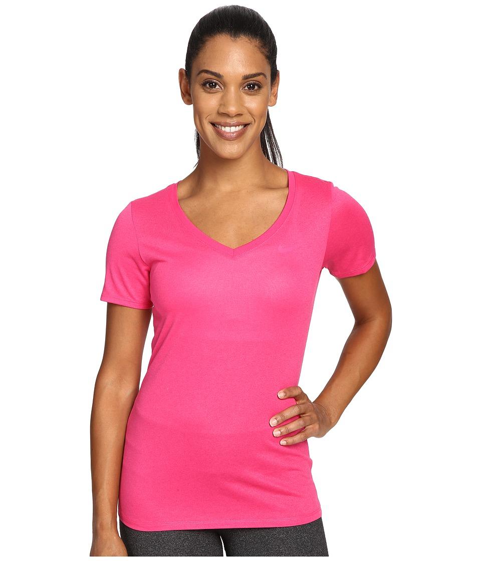 Nike - Dry Legend V-Neck Shirt (Vivid Pink/Vivid Pink) Women's T Shirt