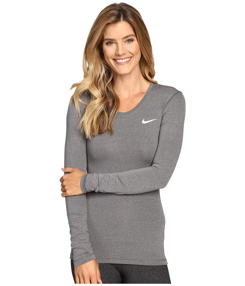 Nike - Pro Cool Training Top (Dark Grey/Heather/White) Women's Long Sleeve Pullover
