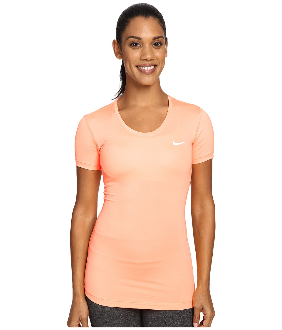 Nike - Pro Cool Short Sleeve Shirt (Peach Cream/White) Women's Short Sleeve Pullover