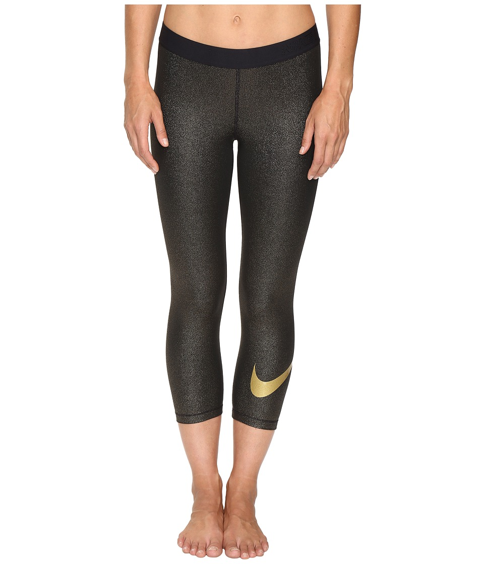 Nike - Pro Cool Training Capri (Black/Metallic Gold) Women's Workout