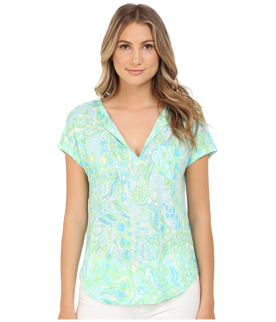Lilly Pulitzer - Duval Top (Pool Blue Any Fins Possible) Women's Clothing