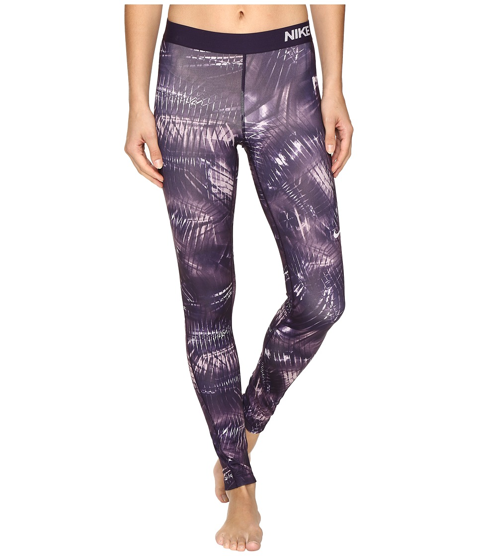 Nike - Pro Warm Printed Training Tight (Purple Dynasty/Bleached Lilac) Women's Workout