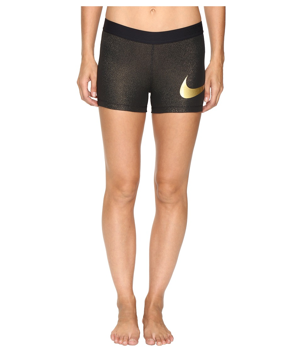 Nike - Pro Cool 3 Training Short (Black/Metallic Gold/Metallic Gold) Women's Shorts