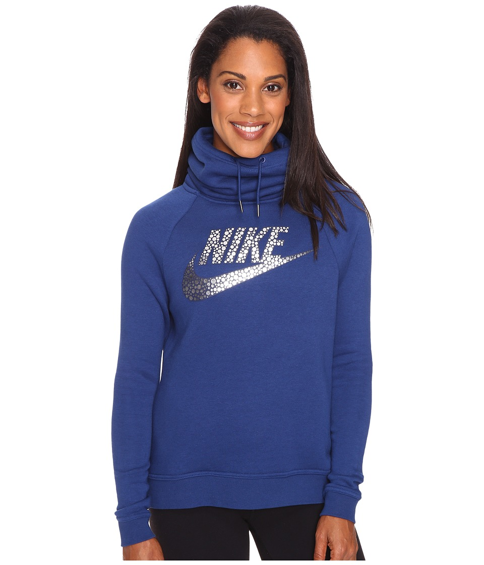 Nike - Sportswear Rally Funnel-Neck Hoodie (Coastal Blue/Obsidian/Metallic Silver) Women's Clothing