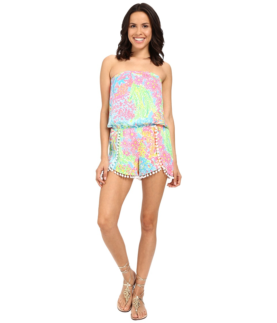 Lilly Pulitzer - Daisy Romper (Seaspray Blue Lovers Coral) Women's Jumpsuit & Rompers One Piece