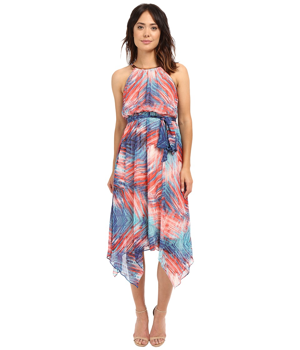 Sangria - Soft Stripe Print Midi Length Dress w/ Hardware Detail (Multi) Women's Dress