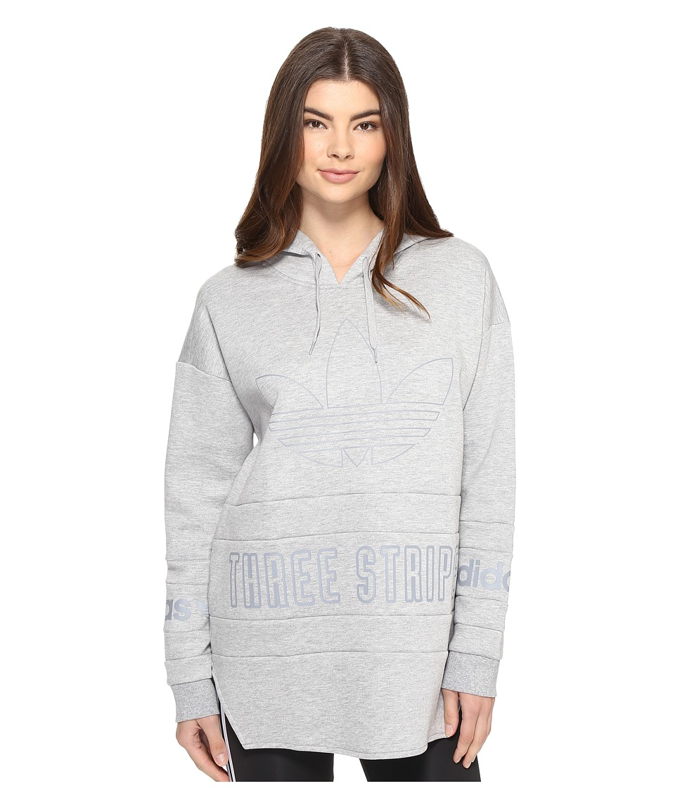 adidas Originals - 3-Stripes Hoodie (Medium Grey Heather) Women's Sweatshirt