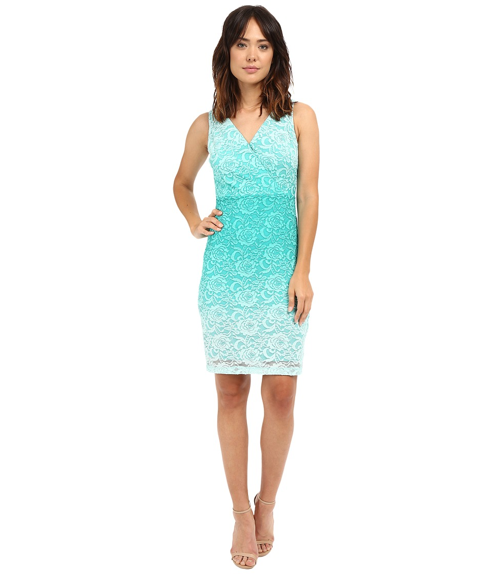 Sangria - Ombre Lace V-Neck Sheath Dress (Tahiti) Women's Dress