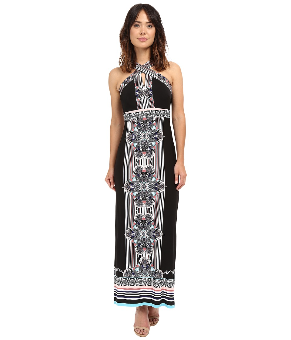 Sangria - Crisscross Neck Mirror Print Maxi (Multi) Women's Dress