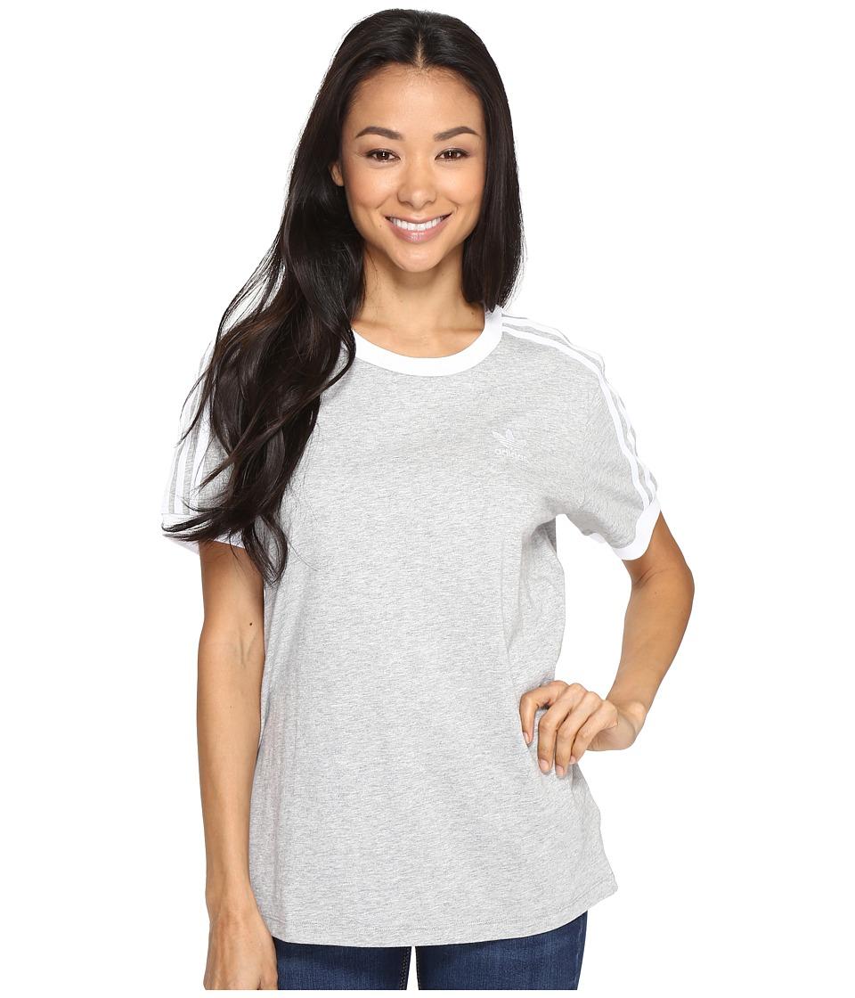 adidas Originals - 3-Stripes Tee (Medium Grey Heather/White) Women's T Shirt