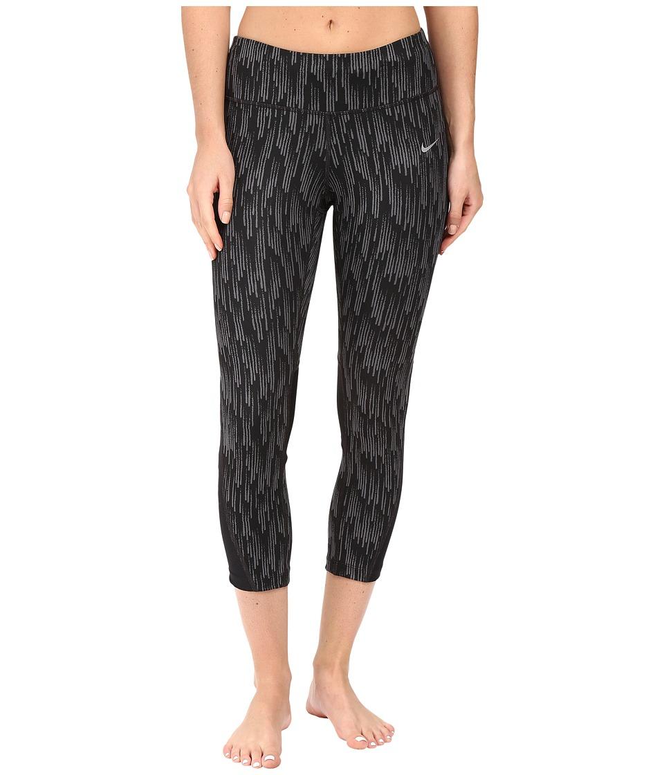 Nike - Power Graphic Running Crop (Black/Dark Grey/Reflective Silver) Women's Clothing