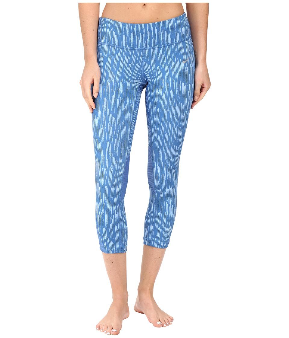 Nike - Power Graphic Running Crop (Star Blue/Light Blue) Women's Clothing