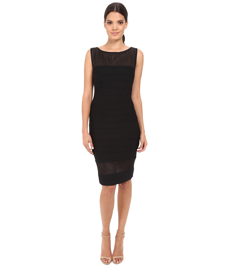 Sangria - Lace Yoke Bandage Knit Little Black Sheath Dress (Black) Women's Dress